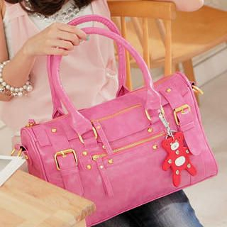 Buckle-Accent Studded Boston Bag