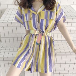 Short-Sleeve Striped Playsuit 1066656534