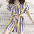 Short-Sleeve Striped Playsuit 1596