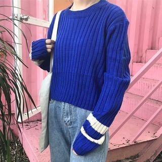 Ribbed Long-Sleeve Knit Top 1063475556