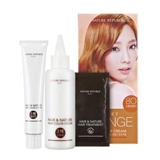 Nature Republic - Hair & Nature Hair Color Cream (#8O Sweet Orange): Hairdye 60g + Oxidizing Agent 60g + Hair Treatment 9g 1050316770