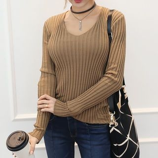 Scoop-Neck Ribbed Knit Top 1056947664