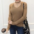 Scoop-Neck Ribbed Knit Top 1596