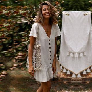 Image of Buttoned Short-Sleeve Shift Dress