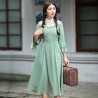 Ruffle Sleeve Lace Panel Midi Dress 1596