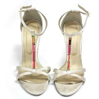 Buy AKA Beaded Satin T-Strap Sandals 1023019457