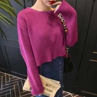 Slit-Sleeve Tie-Detail Knit Top 1053025840