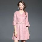 Bell-Sleeve Belted Dress 1596