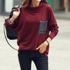 Sequined Pocket Long-Sleeve T-Shirt 1596