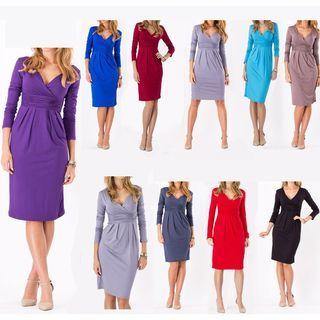 V-Neck Short-Sleeve Dress 1051051474