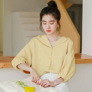 Baseris V-Neck 3/4-Sleeve Chiffon Blouse Yellow - One Size