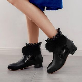 Image of Block Heel Lace Trim Short Boots