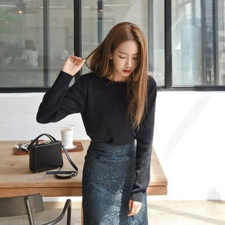 Boat-Neck Knit Top 1053871996