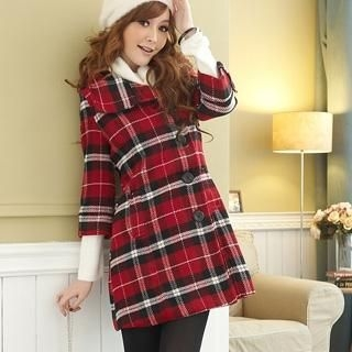 3/4-Sleeve Plaid Coat
