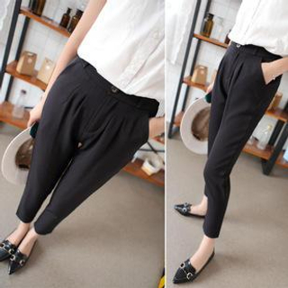 Image of Elastic-Waist Slim-Fit Cropped Pants