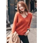 Cutout V-Neck Furry-Knit Top 1596