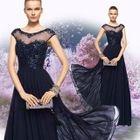 Cap-Sleeve Embellished Evening Dress 1596