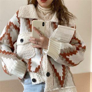 Print Fleece Loose-fit Jacket As Figure - One Size
