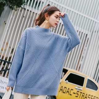 Ribbed Mock Neck Sweater 1063814238
