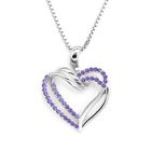 .925 sterling silver double heart purple cz necklace