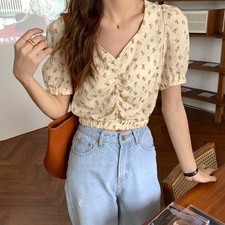 Image of Floral Print Puff-Sleeve Cropped Blouse Floral - Yellow - One Size