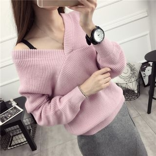 Ribbed Knit V-Neck Sweater 1053882371