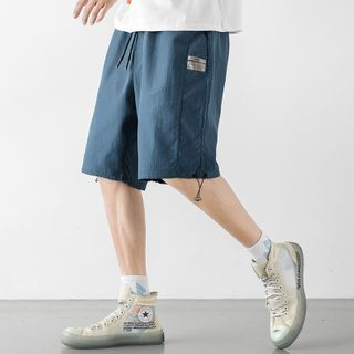 Image of Drawstring-Hem Wide-Leg Shorts