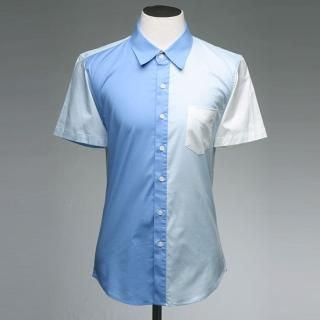 Buy Style YOURS Short-Sleeve Color-Blocked Shirt 1022571226