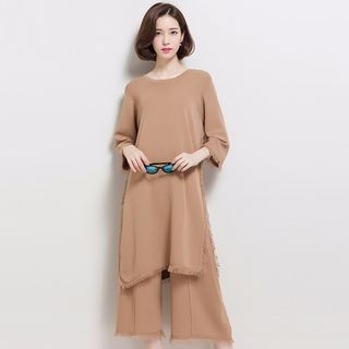 Set: 3/4-Sleeve Long Sweater + Wide Leg Cropped Pants 1064913195