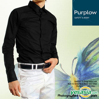 Buy Purplow Fly Front Solid Shirt in Black 1004720242