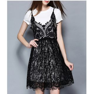 Set: Short-Sleeve T-Shirt + Strappy Lace Dress 1051590476