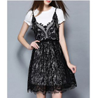 Set: Short-Sleeve T-Shirt + Strappy Lace Dress 1596