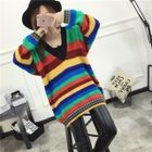 V-Neck Long Sleeves Color Block Sweater 1596