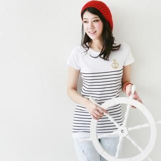 Picture of Antic Beads Stripe Short Sleeve T-Shirt 1022712251 (Antic Beads Tees, Womens Tees, South Korea Tees, Short Sleeve Shirts)
