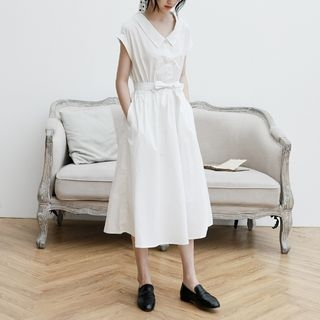 Cap-Sleeve Tie-Waist Midi A-Line Dress 1068158191