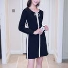 Long-Sleeve Contrast Trim A-Line Dress 1596