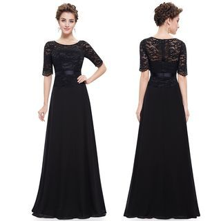 Lace Panel Elbow-Sleeve Evening Gown 1052902852