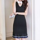 Cut Out Front Collared Sleeveless Dress 1596