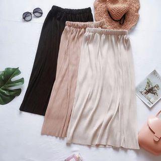 Image of Elastic Waist Plain Midi Skirt