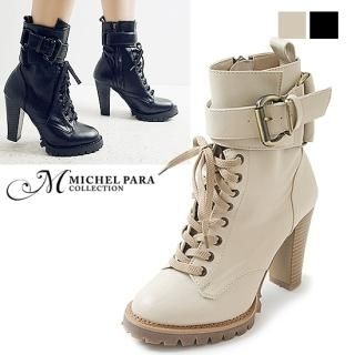 Picture of MICHEL PARA COLLECTION Belted Ankle Boots 1023061410 (Boots, MICHEL PARA COLLECTION Shoes, Korea Shoes, Womens Shoes, Womens Boots)