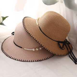 Image of Faux Pearl Boater Hat