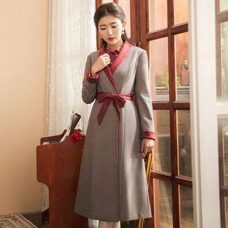 Houndstooth Tie-Waist Lapel Coat 1063047927
