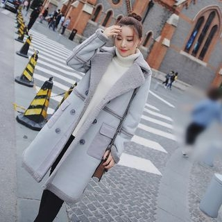Image of Double-Breasted Faux Shearling Coat