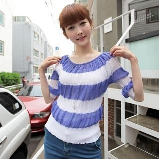 Buy CLICK Boat-Neck Striped Knit Top 1022796871