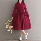 Long-Sleeve A-Line Chiffon Dress 1596