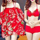 Set : Floral Print Halter Bikini + Cover-up 1596