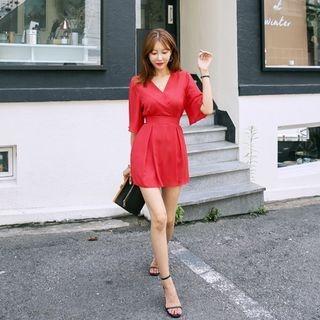 Inset Shorts Tie-Waist Chiffon Mini Dress 1061007129