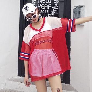 V-neck Colour Block Elbow-Sleeve T-shirt Dress 1060338292