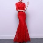 Lace Elbow-Sleeve Evening Gown 1596