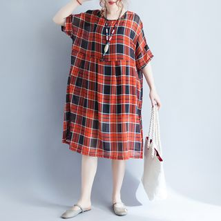Image of Plaid Elbow-Sleeve Babydoll Dress Red - One Size